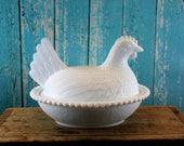 Hen on Nest Milk Glass dish with lid,  Spring, Easter, Spring Chicken, Shabby chic, Vintage, Mid Century, kitsch, retro, kitchen