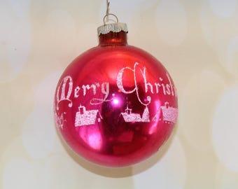 JUMBO Shiny Brite Ornament, Mercury Glass, Stenciled, Merry Christmas, Fuchsia, Pink, Vintage Christmas, Mid Century, Retro, 1940s