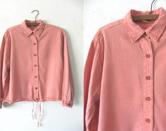 Salmon Pink Boxy fit Long Sleeve Top - Beachy Boho Surfer Style Soft Pastel Button Down Shirt - Women's Small