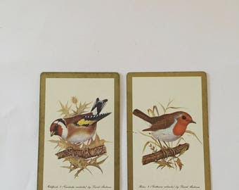 Bird Swap Cards / 2 Vintage Bird Playing Cards Robin & Goldfinch Great for Mixed Media, Journals, Smash Books, Tags, etc.