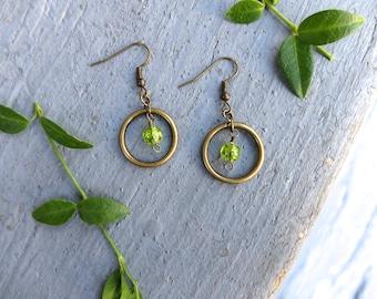 Green Hoop and Gem Earrings / Peridot Hoop Earrings / Gem Earrings / August Birthstone Earrings / Bronze Circle Earrings
