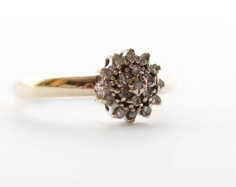 9ct Gold Engagement Ring Diamond and Paste Stone Ladies Cluster Ring  Size UK M 1/2    US 6.50