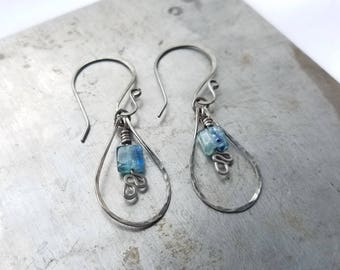 Rustic Textured Natural Kyanite Dangle Earrings. Hypoallergenic Niobium Earrings. Ready to Ship. Free Shipping.
