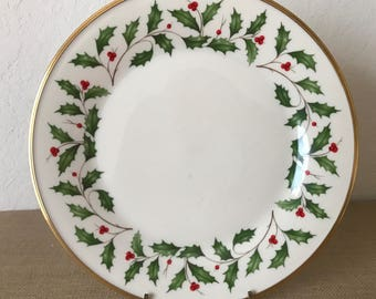 """Vintage Lenox Christmas Holiday Dinner Plate, 10-3/4"""" Lenox Holly and Berries Plate"""