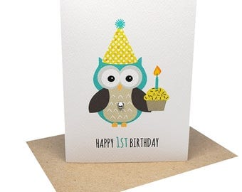 1st Birthday Card Boy - 1st Birthday Boy Party Owl with Cupcake - HBC198 / Happy 1st Birthday First