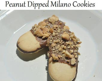 Peanut Dipped Milano Cookies