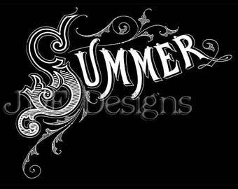 Instant Digital Download, Antique Victorian Graphic, Summer Chalkboard Text, Vintage Lettering, Printable Image, Typography, Sign, Banner