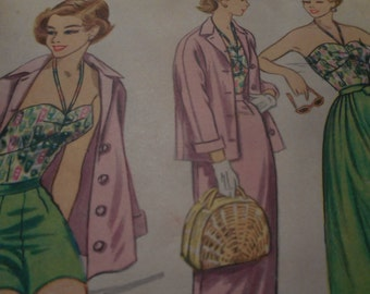 Vintage 1950's McCall's 3208 Bodice, Shorts, Jacket and Slim or Full Skirt Ensemble Sewing Pattern, Size 12 Bust 30