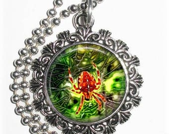 Spider on the Web Art Pendant, Photo Painting Filigree Charm, Silver and Resin Necklace, YessiJewels Jewelry