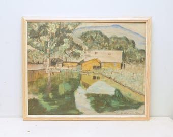 1952 Original Oil Painting Landscape Mountain Farm Signed