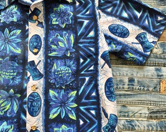 Ui-Maikai Blue Hawaiian Mens Shirt