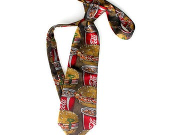 Vintage neck tie. Rubenstein Bros New Orleans silk necktie. Burger Coca-Cola tie. Gift for him. Boyfriend gift. Retro tie. Mad men fashion