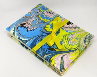 Blue Yellow Peacock Marble Pattern Watercolor Sketchbook Meander Journal Album Pocket Book Small