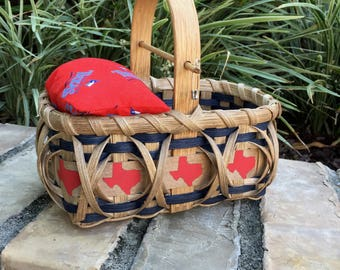 Texas Pincushion Basket Medium Sewing Basket Quilters Basket Texas Gift Idea Made in Texas Texas Sewing Basket Texas Mending Basket