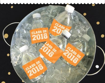 Graduation Bottle Wrappers -Orange- Instant Download printable PDF