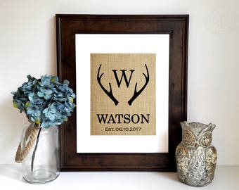 Personalized Wedding Gifts for Couple, Engagement Gift, Deer Antler Monogram, Antler Decor, Rustic Wall Art, Woodsy Sign, Custom Home Decor