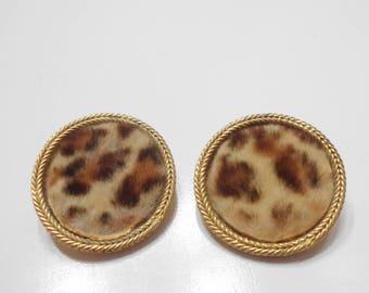 Vintage BSK Faux Fur Clip Earrings (1646)
