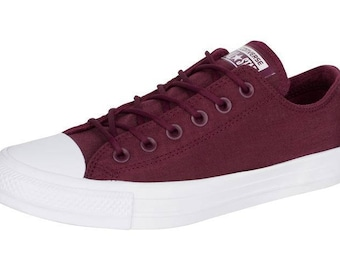 Burgundy Converse Wine Red Canvas Low Top Men Lady Custom Rain wear w/ Swarovski Crystal Rhinestone Bling Chuck Taylor All Star Sneaker Shoe