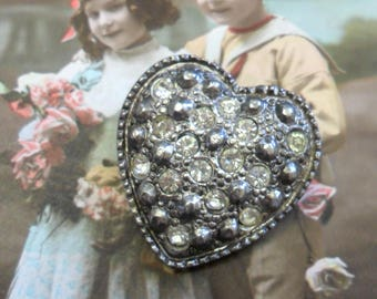 Vintage Sparkling Clear Rhinestones in a Heart Shaped Silver Plated Brooch Pin 1950s Beautiful!