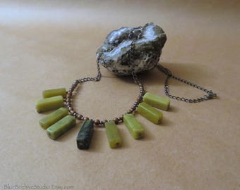 Boho Long Stone Necklace, 30.5 Inches, Serpentine (olive jade/new jade), Antique copper chain, mixed metal necklace, stone pendants (N400)