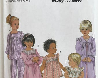 UNCUT Child's, Toddler Pajamas, Nightgown, Robe Sewing Pattern Simplicity 9968 Size 1/2-1-2-3-4 Christmas Pajamas, Pants, Shorts, Winter