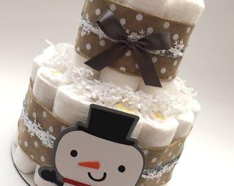 2 Tier Snowman Diaper Cake. Baby It's Cold Outside Diaper Cake. Winter Baby Shower. Snowflake Diaper Cake. Winter Baby Shower Decorations