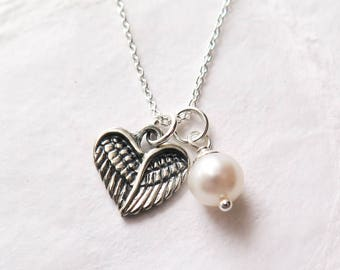 Miscarriage Necklace - Baby Loss Jewelry, Angel Wing Heart with Freshwater Pearl, Remembrance Necklace, Pregnancy Loss, Miscarriage Jewelry
