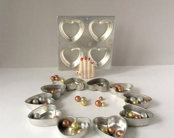 Mini Heart Molds, Vintage Cake Pans, Aluminum Heart Shaped Tins, Jello Molds, Set of 10 Individual One Wilton 2105-9429, Valentine's Decor