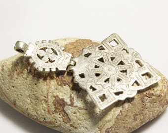 Large Hinged Cross made in Ethiopia, African Jewelry Supplies (AL23)