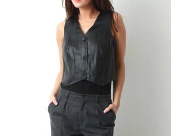 90s Leather Vest / Woman Leather Vest / Black Leather Vest / Black Vest / Large Vest / Woman Black Top / Leather Top / Vintage Vest