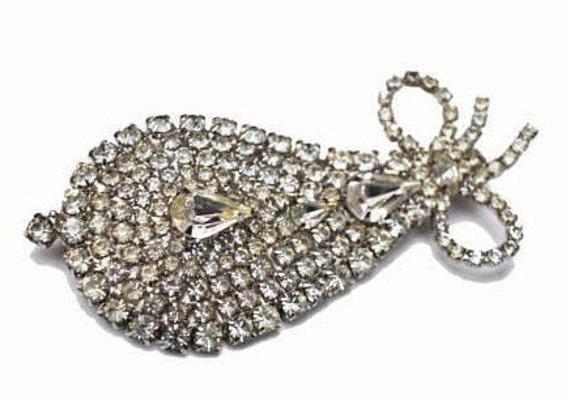 Rhinestone Brooch -  Ice Crystal clear  stones  Bling - Wedding Bride