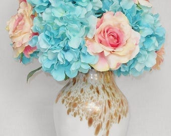 Silk Flower Arrangement, Light Teal Hydrangea, Pink with Cream Roses, Frosted White with Gold Flecks Vase, Silk Floral Home Decor, Decor,