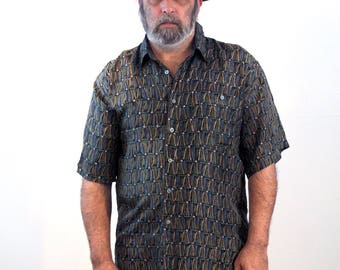 90s Sand Washed Silk Shirt, Light Silk Shirt, Short Sleeve Silk Shirt, Green Silk Leisure Shirt, Bogari Silk Shirt, Large