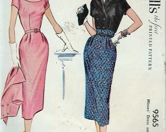 Vintage 1953 McCall 6565 Misses Dress & Jacket Sewing Pattern Size 14 Bust 32""
