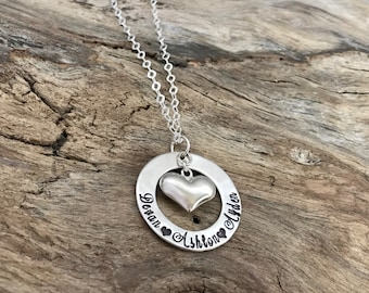 Personalized Sterling Silver Heart Necklace|  Mothers Necklace | Gift for Her | Christmas gift for mom