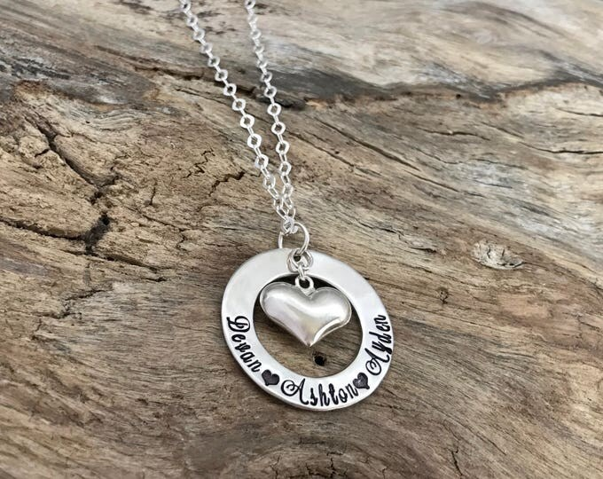Personalized Sterling Silver Jewelry Whole Hearted Mothers Necklace Name Puffy Heart Hand Stamped Jewelry