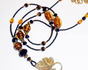 Beaded Lanyard, Lampwork Glass Beaded Lanyard, Gold Black Lanyard, Elegant Lanyards, LY11201