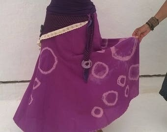 Tie Dyed Violet, Purple, Pink Skirt with Felted Flower Belt