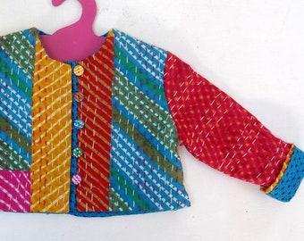 Jacket kids gaudri muticolore cotton patchwork, blue printed cotton