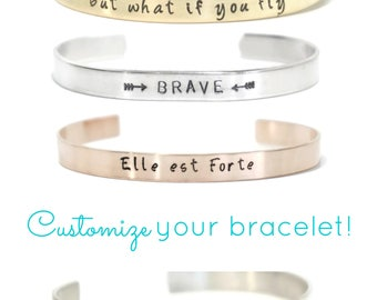 Your Mantra Bracelet - Hand Stamped - Cuff Bracelet - Customized - Personalized -Gold - Rose Gold - Sterling Silver - Copper