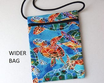 """Rainbow SEA TURTLE Blue Pouch Zip Bag. Great for walkers markets travel.  Cell Phone Pouch. Small blue fabric Purse.  WIDER Bag 7""""x5.25"""""""