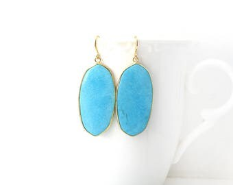 Polished Gold Plated Oval Blue Earrings