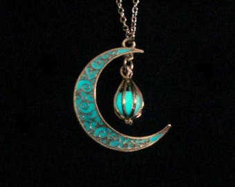 Crescent Moon Glowing Orb Necklace, Glow In Dark Necklace, Moon Orb Jewelry, Orb Moon Pendant, Ant. Silver (glows aqua blue)