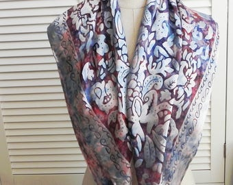 Large square Devore satin silk scarf hand dyed in shades of red, purple, and blue is ready to ship, silk scarf #542