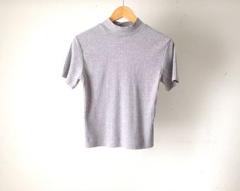 vintage HEATHER GREY mock TURTLENECK fitted ribbed t-shirt club kid top