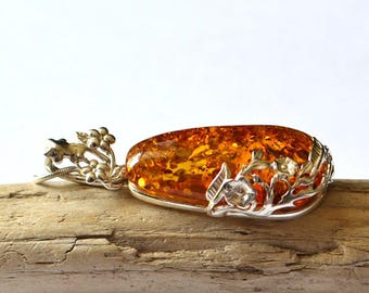 Natural Amber Necklace, Amber Pendant with Floral Pattern, Floral Amber Necklace, Pure Amber Jewelry, Amber Gift