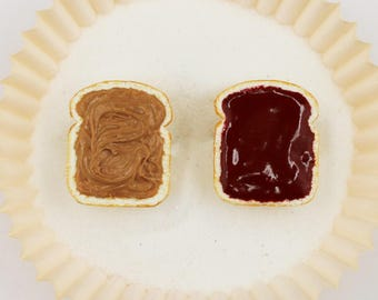Peanut Butter & Jelly Friendship Rings- Food Jewelry - Polymer Clay Jewelry