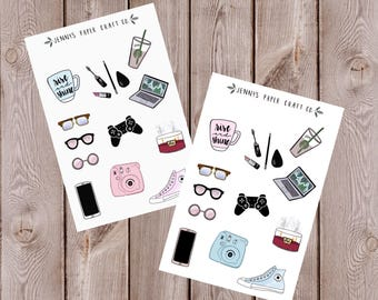 2-Pack Everyday Item Essentials Collection Stickers Cute Planner and Journal Stickers