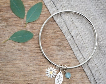 Aster Flower and Leaf bangle in solid silver and 18ct gold