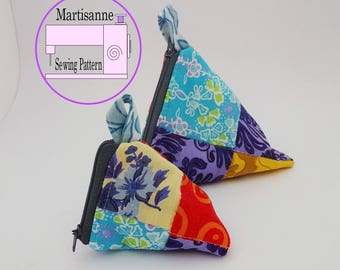 Pyramid pouch,Coin Purse PDF Sewing Pattern,Sewing tutorial for a zip pouch pattern,mini,pocket pattern pdf,make up bag pattern,pouch pdf